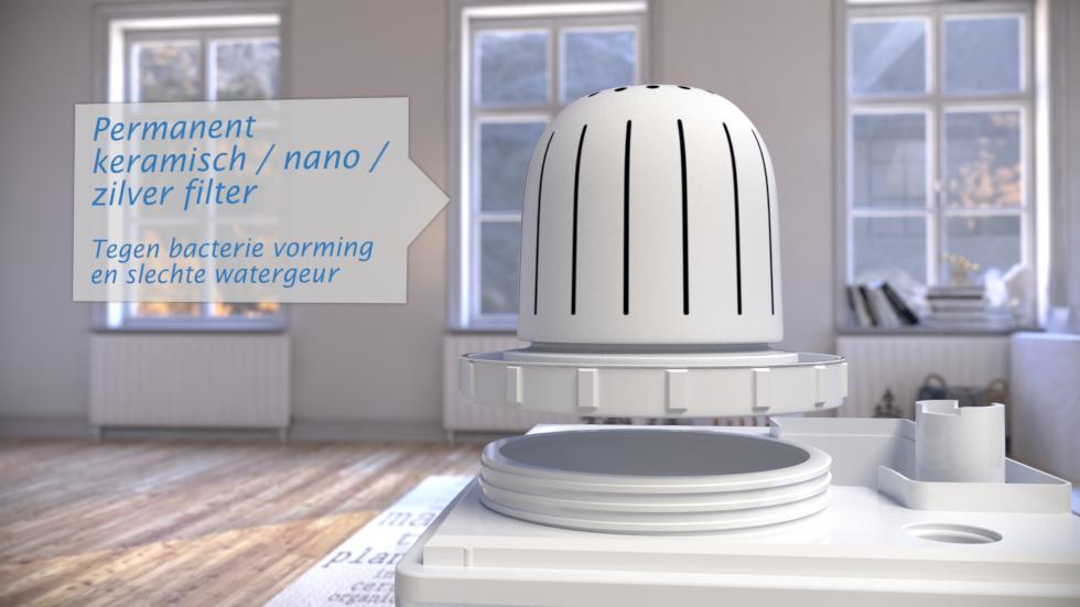 Deze geruisarme luchtbevochtiger zorgt voor een duidelijke verbetering van de luchtkwaliteit.