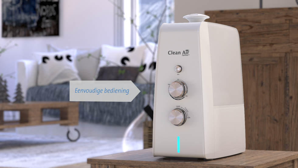 Door ultrasone bevochtiging techniek, ionisatie luchtreiniging en aromatherapie te combineren in één apparaat