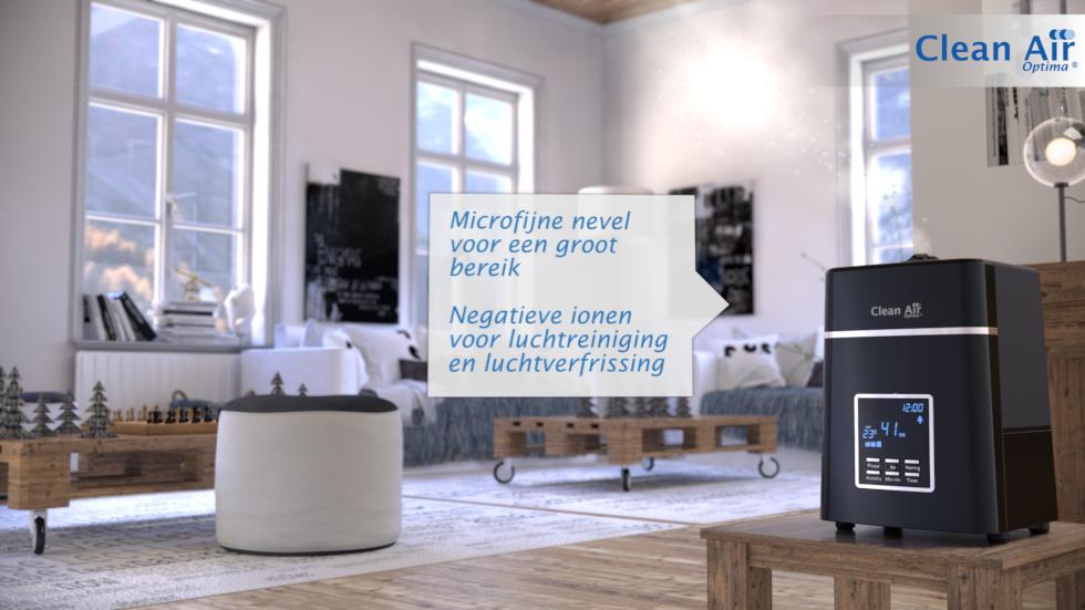Deze geruisarme luchtbevochtiger zorgt voor een duidelijke verbetering van de luchtkwaliteit in binnenruimtes en verhoogt daarmee het welbevinden.