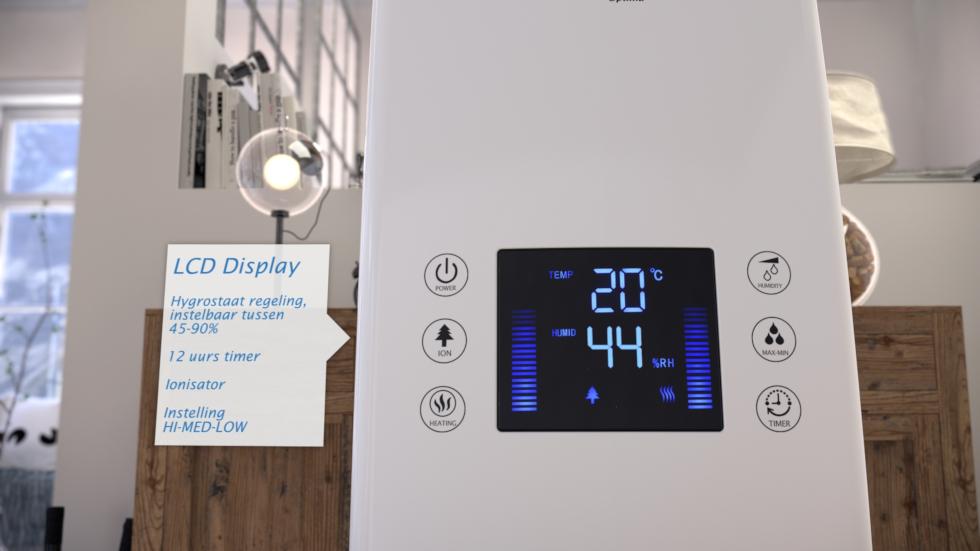 Effectieve luchtbevochtiger met ionisator, koude en warme verneveling
