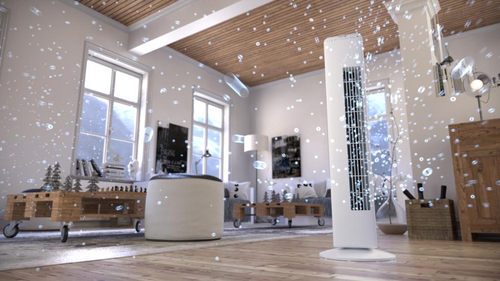 De Clean Air Optima ventilator in torenmodel CA-405 met ionisator zorgt op ieder gewenst moment voor het aangename verkoelende briesje