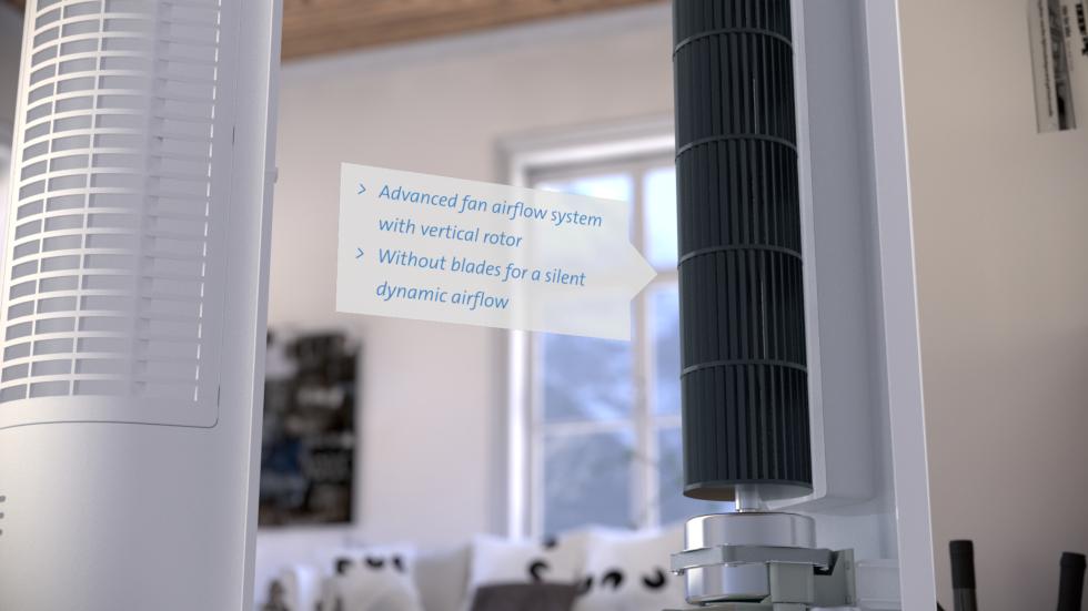 Unieke design ventilator met ionisator voor koele prestaties tijdens warme dagen