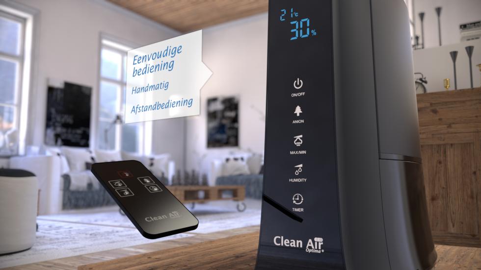 De Ultrasoon luchtbevochtiger Clean Air Optima CA-603 met koude verneveling, ionisator voor luchtreiniging en aromaverstuiving.